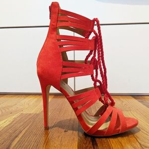 "Justfab Neveah 5"" Red Strappy Heeled Sandals"